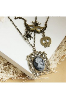 Fashion Bronzed Alloy with Beauty Head Lolita Sweater Chain