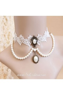 Wedding Pearl White Lace Lolita Necklace