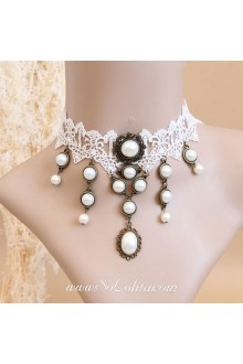 Wedding Tassel Unique Pearl White Lace Lolita Necklace