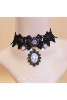 Retro Black Lace Purple Carving Roses Lolita Necklace