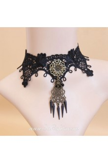 Black Lace Bronze Flower with Tassels Lolita Necklace