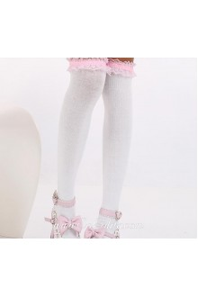 Cute Sweety Pop Pink Purfle White Lolita Knee Stockings