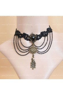 Fashion Black Lace Pearls Tassel Peacock Lolita Necklace
