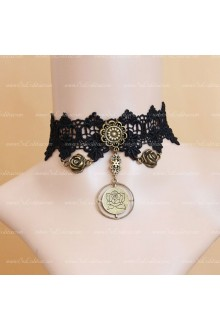 Simlple Black Bronze Flowers Lolita Necklace