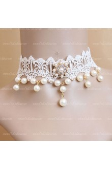 White Lace Sweet Pearls Lolita Necklace