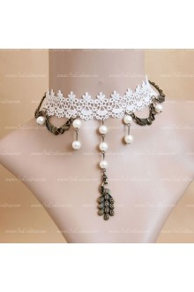 White Lace Sweet Pearls Peacock Weave Lolita Necklace