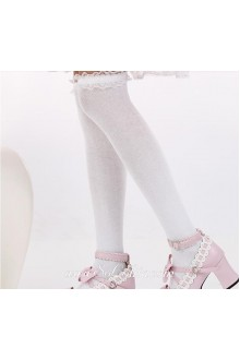 Cute Sweety Pop White Purfle Lolita Knee Stockings