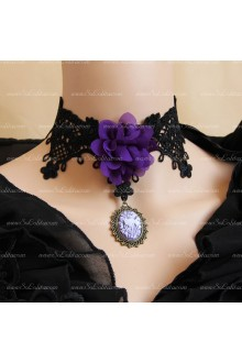 Fashion Purple Lace Flowers Lolita Necklace