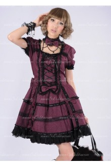 Dark Red Lace Square Neck Short Sleeves Bow Punk Lolita Dress
