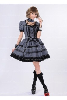 Dark Grey Lace Square Neck Short Sleeves Bow Punk Lolita Dress
