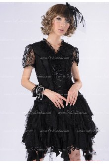 Red Lace V-Neck Short Sleeves Hollow Punk Lolita Dress