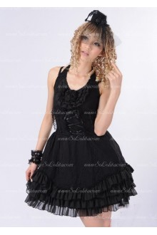Black Lace Sweet Straps Floral Punk Lolita Dress
