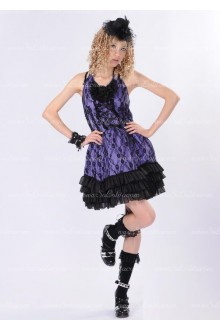 Purple Lace Sweet Straps Floral Punk Lolita Dress