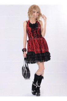 Red Lace Sweet Straps Floral Punk Lolita Dress
