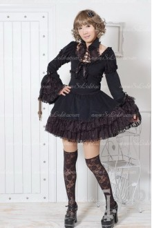 Elegant Black Lace Flouncing Punk Lolita Dress