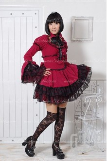Elegant Red Lace Flouncing Punk Lolita Dress