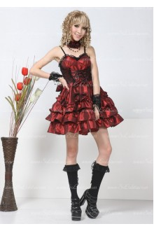 Red Chiffon Straps Sleeveless Punk Lolita Dress