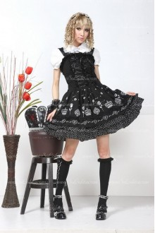Black Floral Lapel Short Sleeves Punk Lolita Dress