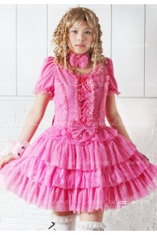 Pink Wave Point Round Neck Short Sleeves Punk Lolita Dress