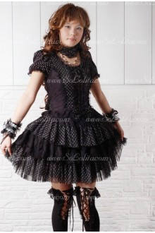 Black Wave Point Round Neck Short Sleeves Punk Lolita Dress