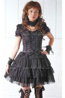 Black Round Neck Short Sleeves Punk Lolita Dress