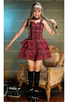 Sweet Red and Black Lattice Slim Sets Punk Lolita Dress