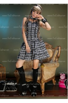 Sweet White and Black Lattice Slim Sets Punk Lolita Dress