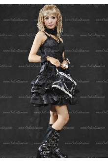 Noble Black Mercerized Bowknot Punk Lolita Dress