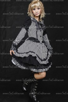 Black and White Round Neck Stripe Sets Punk Lolita Dress