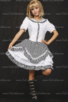 Elegant Black and White Round Neck Stripe Sets Punk Lolita Dress