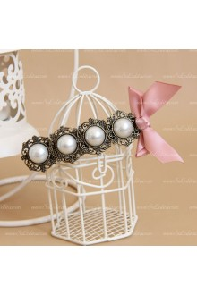 Sweet Lady Pearl Pink Bow Lolita Headdress Barrette