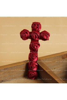 Vintage Red Rose Cross Gothic Vampire Lolita Headdress Barrette