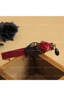 Gothic Lace Red Rose Black Pearl Lolita Headdress Barrette