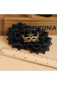 Black Flowers Owl Mask Lolita Headdress Barrette