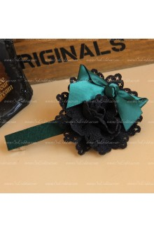 Black Flowers Green Bowknot Lolita Headdress Barrette