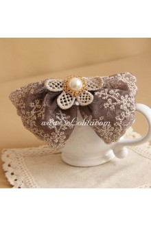 Fashion Knit Lace Pearl Lolita Headdress Barrette