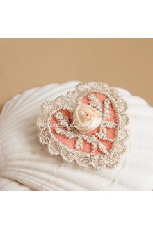 Sweet Lace Trim Rose Heart Lolita Headdress Barrette