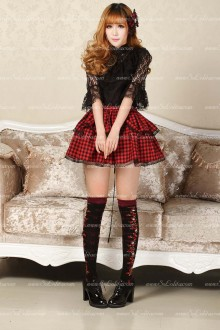 Punk Black and Red Lattice Above Knee Lolita Skirt