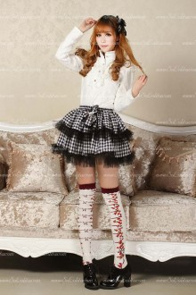 Punk Black and White Lattice Above Knee Lolita Skirt