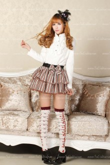 Sweet Princess Brown Short Striped Tutu Lolita Skirt