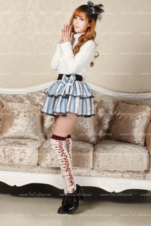 Sweet Princess Sky Blue Short Striped Tutu Lolita Skirt