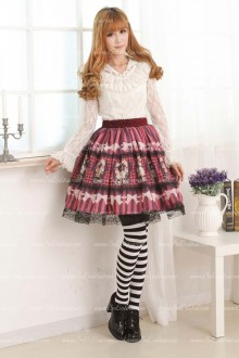 Alice Princess Violet Lace Trim Floral Lolita Skirt