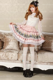 Alice Princess Khaki Lace Trim Floral Lolita Skirt