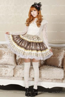 Alice Princess Khaki Floral Lolita Skirt