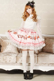 Pink Candy Printed Ruffles Cute Lolita Skirt