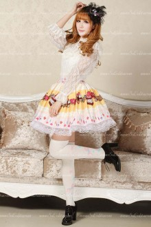 Light Yellow Candy Printed Ruffles Cute Lolita Skirt