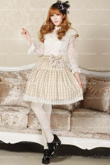 Light Yellow Crown Pleated Sweet Lolita Skirt