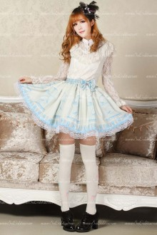 Sky Blue Nightingale Pleated Sweet Lolita Skirt