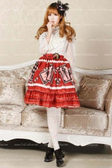 Red Sweet Poker Printed Lolita Skirt