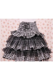 Black High Waist Lattice with Bowknot Lolita Skirt